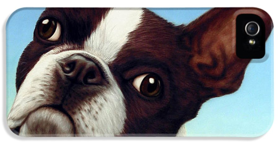Dog IPhone 5 / 5s Case featuring the painting Dog-nature 4 by James W Johnson