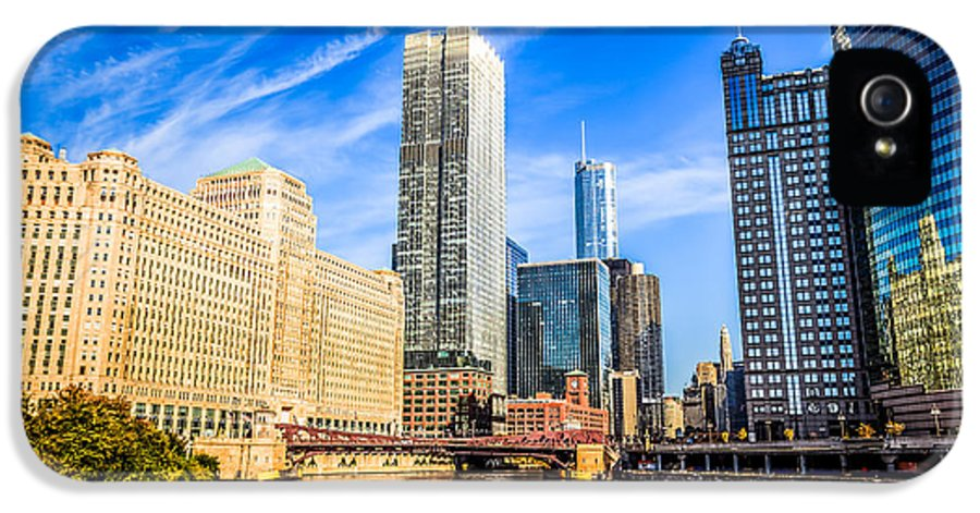 America IPhone 5 / 5s Case featuring the photograph Downtown Chicago At Franklin Street Bridge Picture by Paul Velgos
