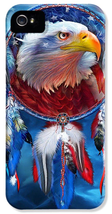 Carol Cavalaris IPhone 5 / 5s Case featuring the mixed media Dream Catcher - Eagle Red White Blue by Carol Cavalaris