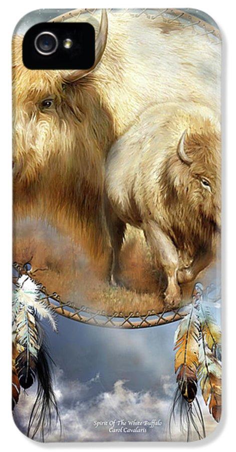 Carol Cavalaris IPhone 5 / 5s Case featuring the mixed media Dream Catcher - Spirit Of The White Buffalo by Carol Cavalaris