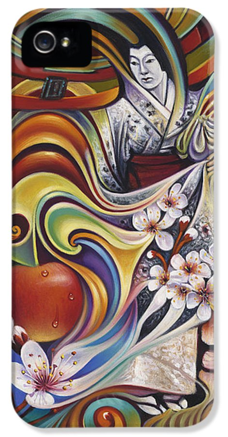 Cherry-blossoms IPhone 5 / 5s Case featuring the painting Dynamic Blossoms by Ricardo Chavez-Mendez