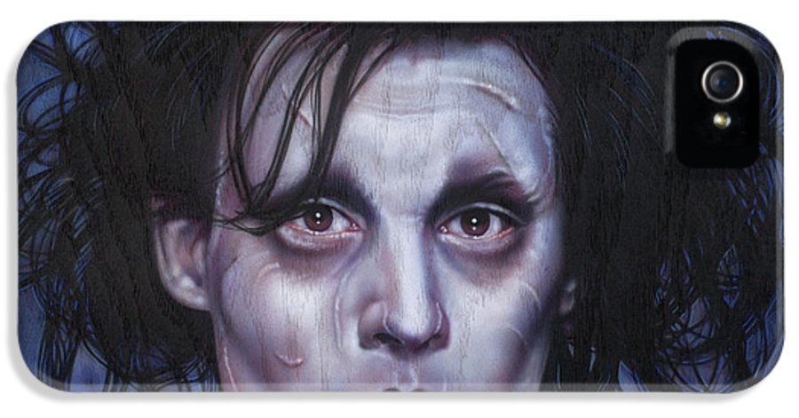 Celebrity IPhone 5 / 5s Case featuring the painting Edward Scissorhands by Tim Scoggins