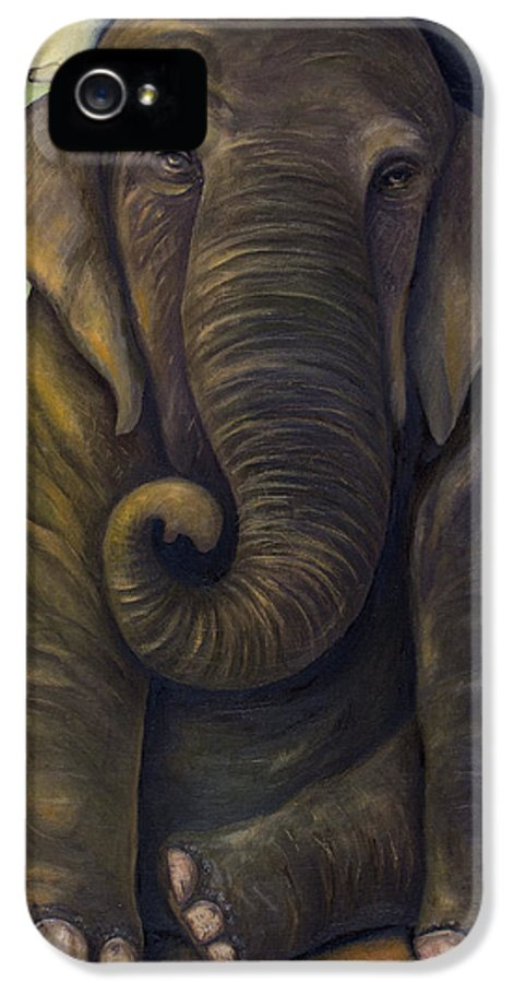 Elephant IPhone 5 / 5s Case featuring the painting Elephant In The Room by Leah Saulnier The Painting Maniac