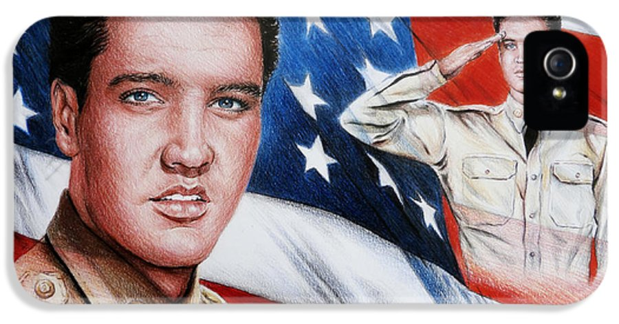 Elvis IPhone 5 / 5s Case featuring the painting Elvis Patriot by Andrew Read