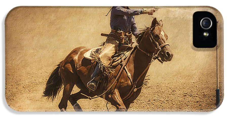 Mounted Shooting IPhone 5 / 5s Case featuring the photograph End Of Trail Mounted Shooting by Priscilla Burgers