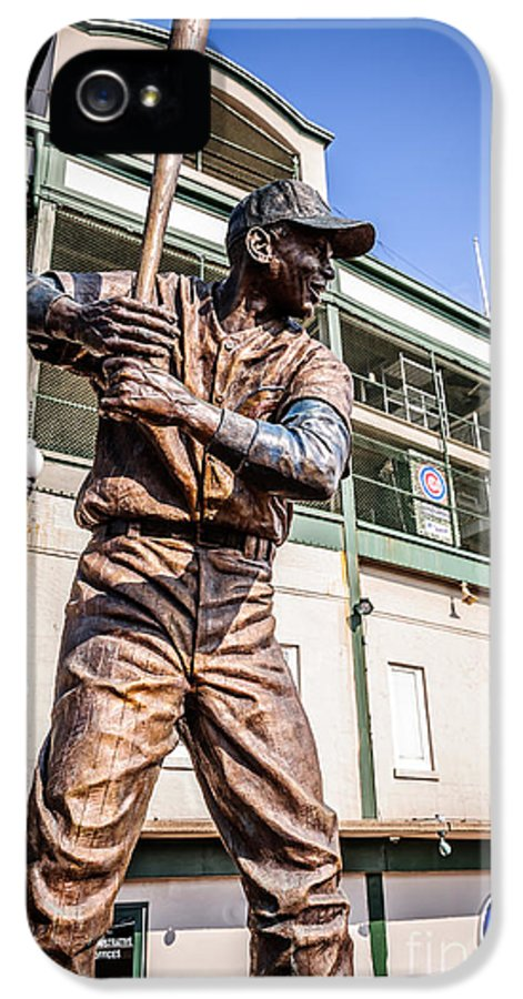 America IPhone 5 / 5s Case featuring the photograph Ernie Banks Statue At Wrigley Field by Paul Velgos