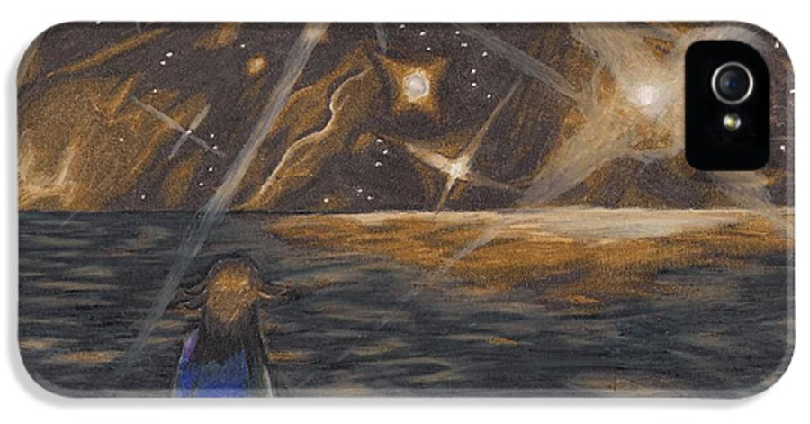 Pluto IPhone 5 / 5s Case featuring the drawing Etestska Lying On Pluto by Keith Gruis