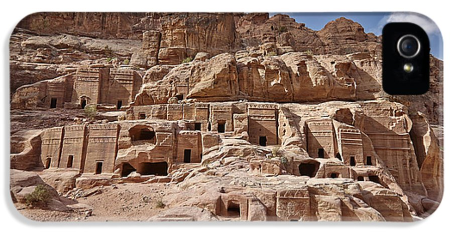 Jordan IPhone 5 / 5s Case featuring the photograph facade street in Nabataean ancient town Petra by Juergen Ritterbach