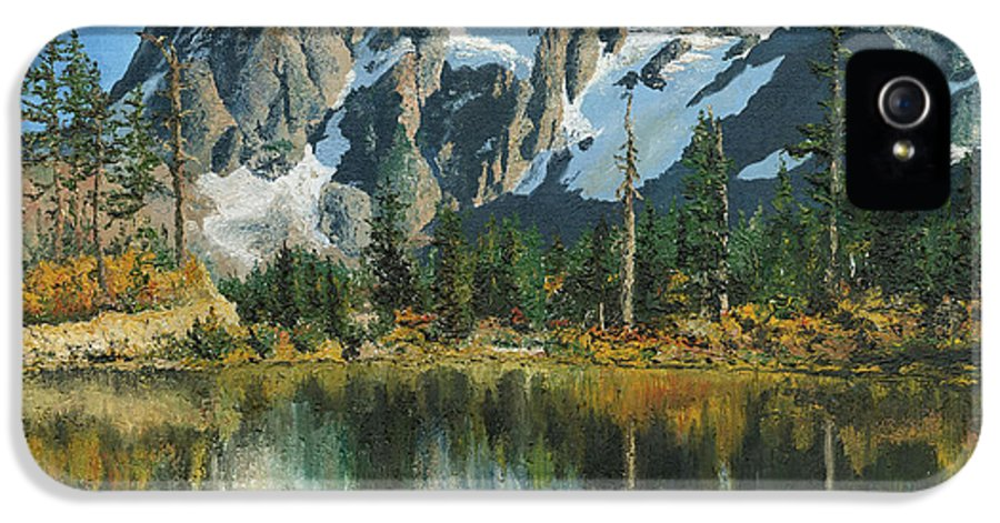 Mount IPhone 5 / 5s Case featuring the painting Fall Reflections - Cascade Mountains by Mary Ellen Anderson