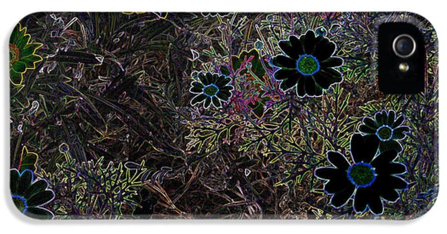 Flowers Daisy Night Shade Cathy Peterson IPhone 5 / 5s Case featuring the photograph Fantasy Garden No. 1 by Cathy Peterson