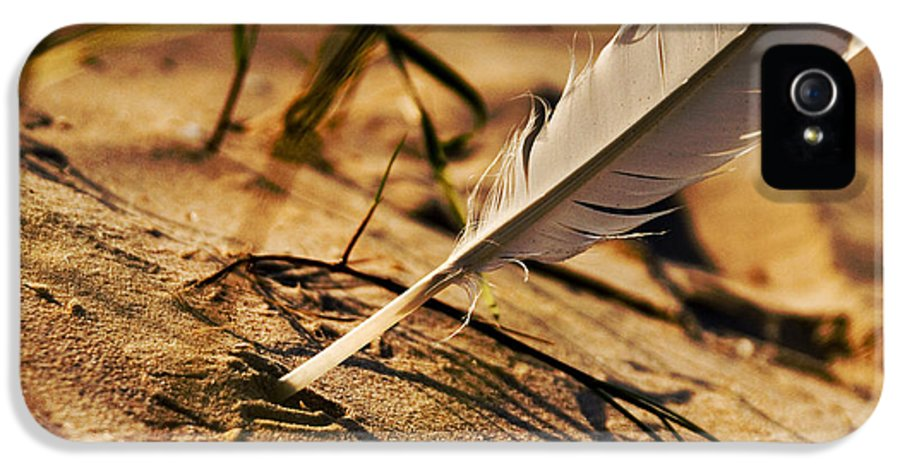Outdoor IPhone 5 / 5s Case featuring the photograph Feather And Sand by Raimond Klavins