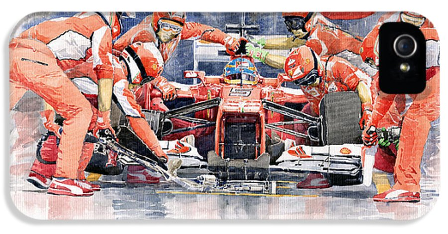 Automotive IPhone 5 / 5s Case featuring the painting Ferrari F 2012 Fernando Alonso Pit Stop by Yuriy Shevchuk