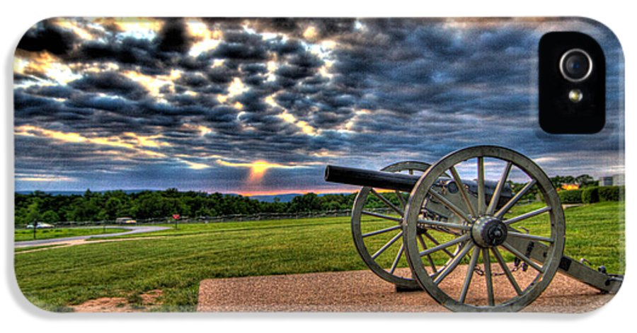 Abraham IPhone 5 / 5s Case featuring the photograph Fire Clouds Over A Gettysburg Cannon by Andres Leon