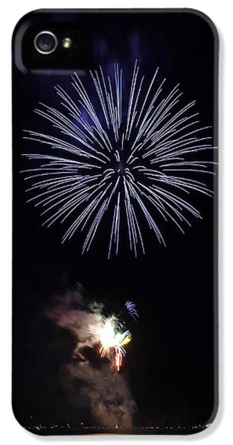 Firework IPhone 5 / 5s Case featuring the photograph Fireworks Shell Burst Over The St Petersburg Pier by Jay Droggitis