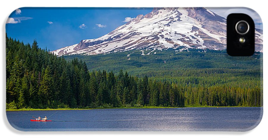 America IPhone 5 / 5s Case featuring the photograph Fishing On Trillium Lake by Inge Johnsson