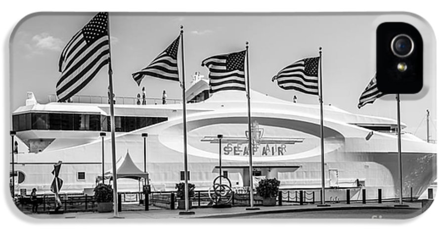 America IPhone 5 / 5s Case featuring the photograph Five Us Flags Flying Proudly In Front Of The Megayacht Seafair - Miami - Florida - Black And White by Ian Monk
