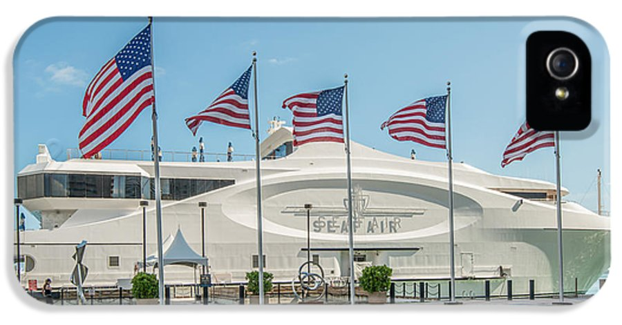 America IPhone 5 / 5s Case featuring the photograph Five Us Flags Flying Proudly In Front Of The Megayacht Seafair - Miami - Florida by Ian Monk