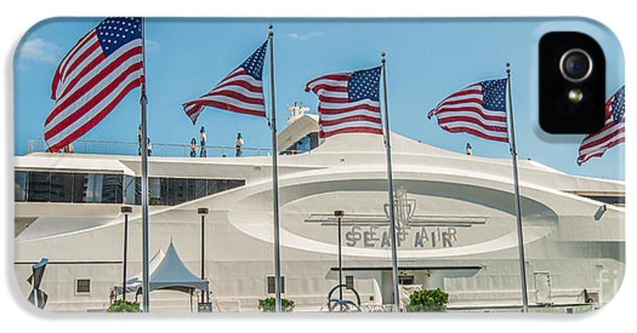 America IPhone 5 / 5s Case featuring the photograph Five Us Flags Flying Proudly In Front Of The Megayacht Seafair - Miami - Florida - Panoramic by Ian Monk