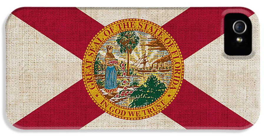Florida IPhone 5 / 5s Case featuring the painting Florida State Flag by Pixel Chimp