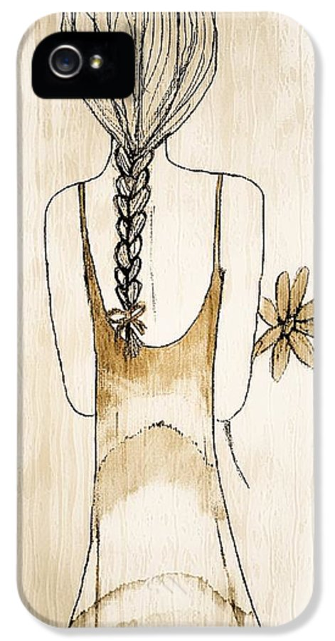 Girl IPhone 5 / 5s Case featuring the painting Flower Girl 3 by Anne Costello