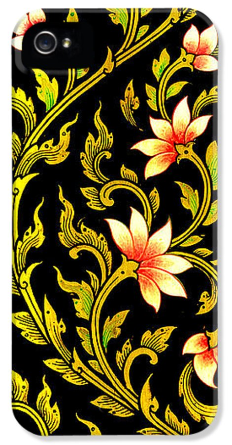 Abstract IPhone 5 / 5s Case featuring the painting Flower Images Artistic From Thai Painting And Literature by Pakorn Kitpaiboolwat