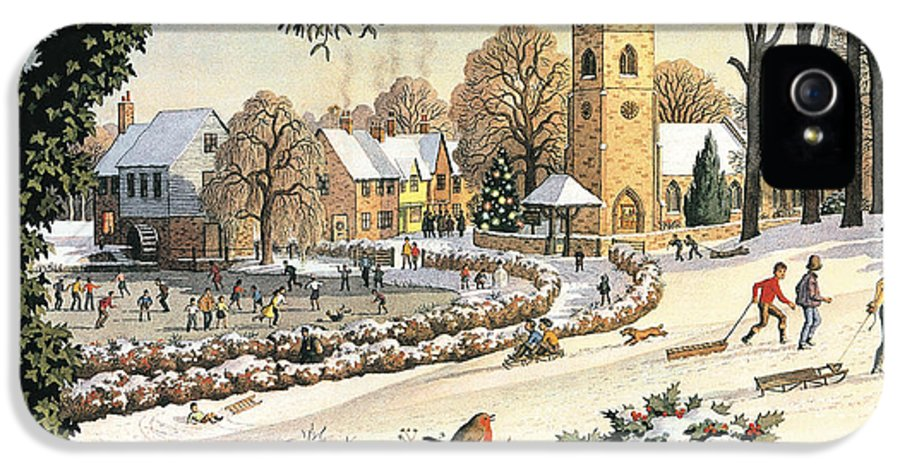 Christmas Village IPhone 5 / 5s Case featuring the painting Focus On Christmas Time by Ronald Lampitt
