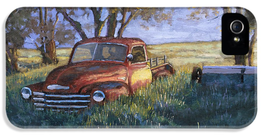 Pickup Truck IPhone 5 / 5s Case featuring the painting Forgotten But Still Good by Jerry McElroy