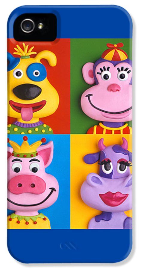 Animal IPhone 5 / 5s Case featuring the painting Four Animal Faces by Amy Vangsgard
