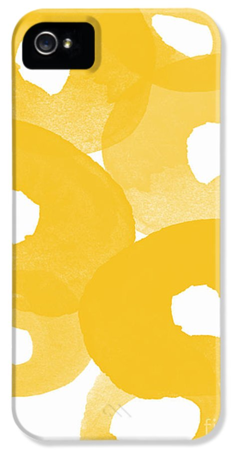 Abstract Flowers IPhone 5 / 5s Case featuring the painting Freesia Splash by Linda Woods
