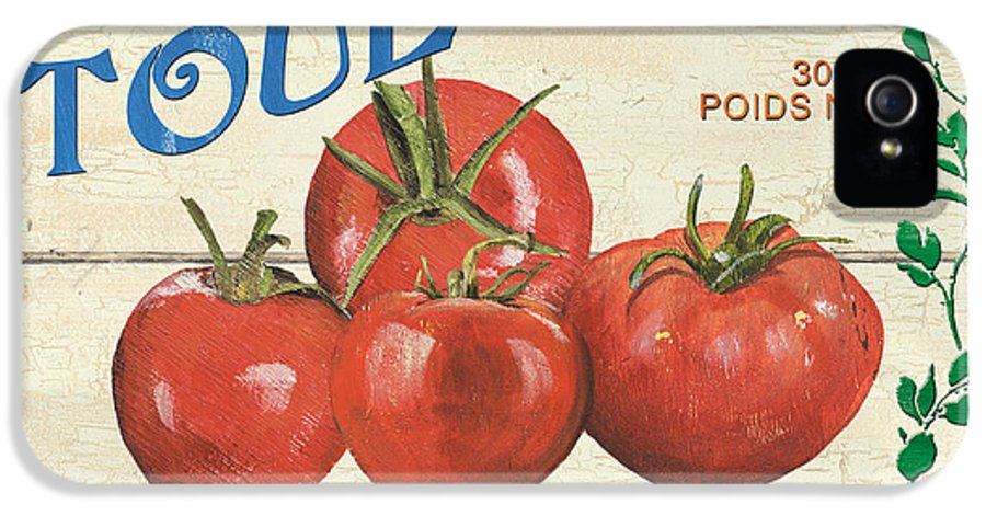 Tomatoes IPhone 5 / 5s Case featuring the painting French Veggie Sign 3 by Debbie DeWitt