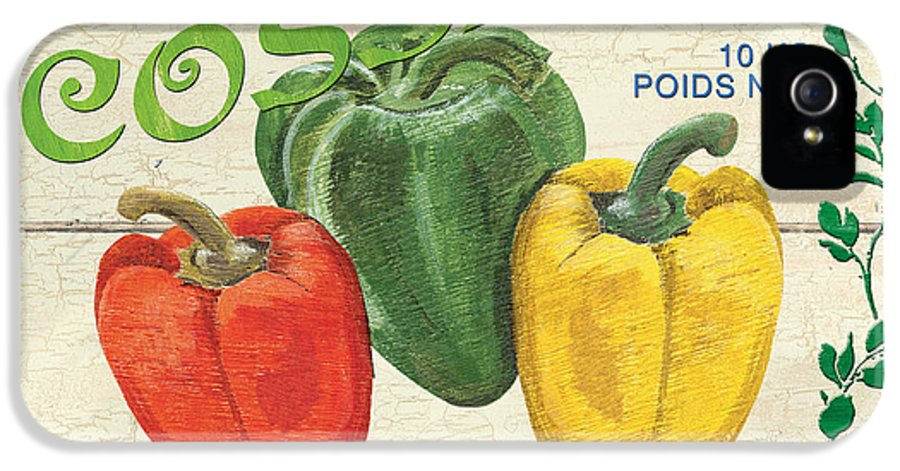 Peppers IPhone 5 / 5s Case featuring the painting French Veggie Sign 4 by Debbie DeWitt