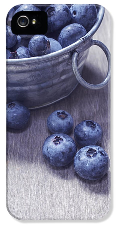 Blueberries IPhone 5 / 5s Case featuring the photograph Fresh Picked Blueberries With Vintage Feel by Edward Fielding