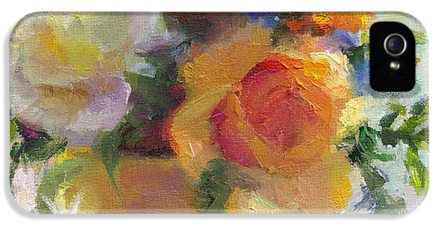Roses IPhone 5 / 5s Case featuring the painting Fresh - Roses In Teacup by Talya Johnson