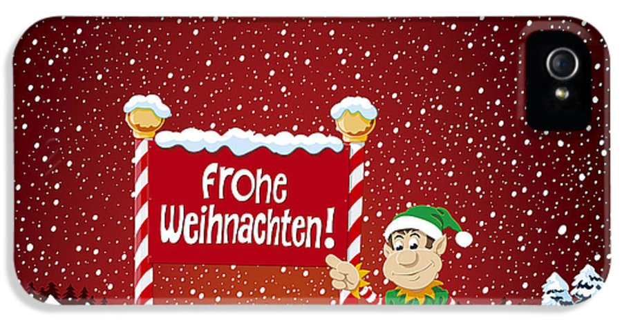 Frohe IPhone 5 / 5s Case featuring the drawing Frohe Weihnachten Sign Christmas Elf Winter Landscape by Frank Ramspott