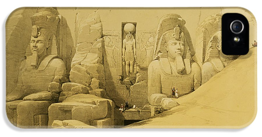 Ruins IPhone 5 / 5s Case featuring the painting Front Elevation Of The Great Temple Of Aboo Simbel by David Roberts