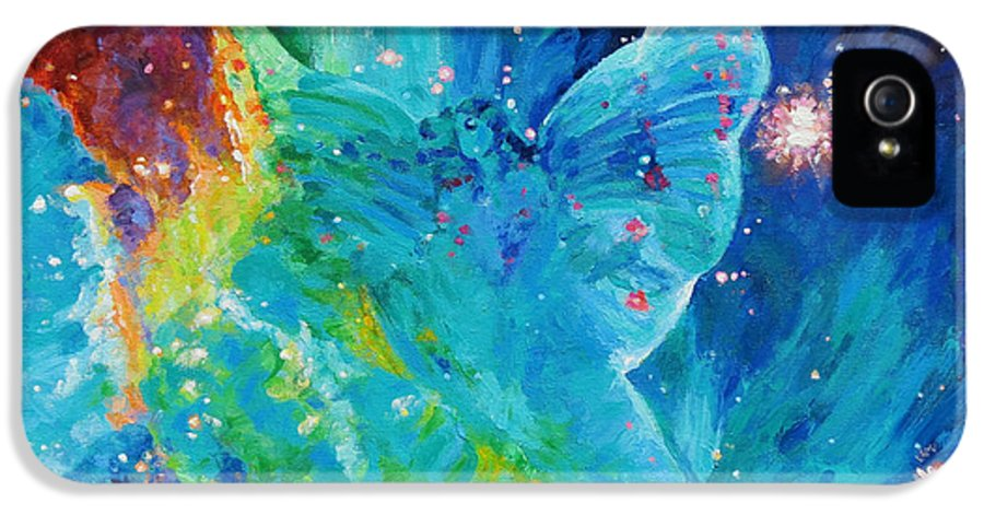 Galactic Angel IPhone 5 / 5s Case featuring the painting Galactic Angel by Julie Turner