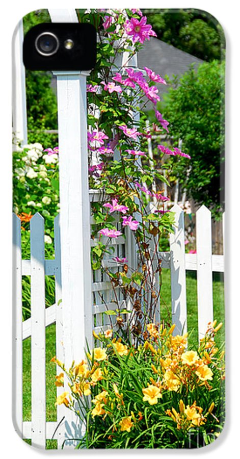 House IPhone 5 / 5s Case featuring the photograph Garden With Picket Fence by Elena Elisseeva