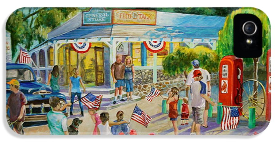 General Sore. American Flags. Gas Pumps. Store Decorated For July 4th. Children With American Flags. Red Geraniums Dog. Trabuco General Store.  IPhone 5 / 5s Case featuring the painting General Store After July 4th Parade by Jan Mecklenburg