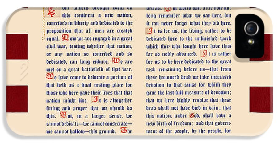 Gettysburg Address IPhone 5 / 5s Case featuring the digital art Gettysburg Address by Gary Grayson