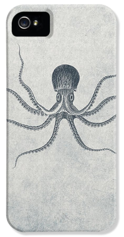 Giant Squid IPhone 5 / 5s Case featuring the drawing Giant Squid - Nautical Design by World Art Prints And Designs