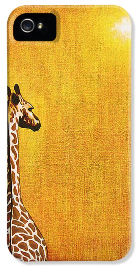 Giraffe IPhone 5 / 5s Case featuring the painting Giraffe Looking Back by Jerome Stumphauzer