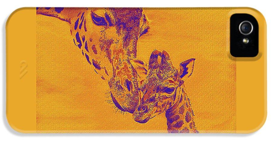 Giraffe IPhone 5 / 5s Case featuring the digital art Giraffe Love by Jane Schnetlage