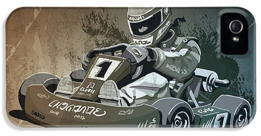 Kart IPhone 5 / 5s Case featuring the drawing Go-kart Racing Grunge Monochrome by Frank Ramspott