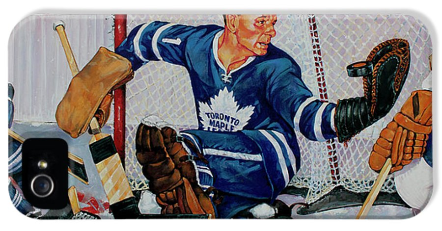Hockey IPhone 5 / 5s Case featuring the painting Goaltender by Derrick Higgins
