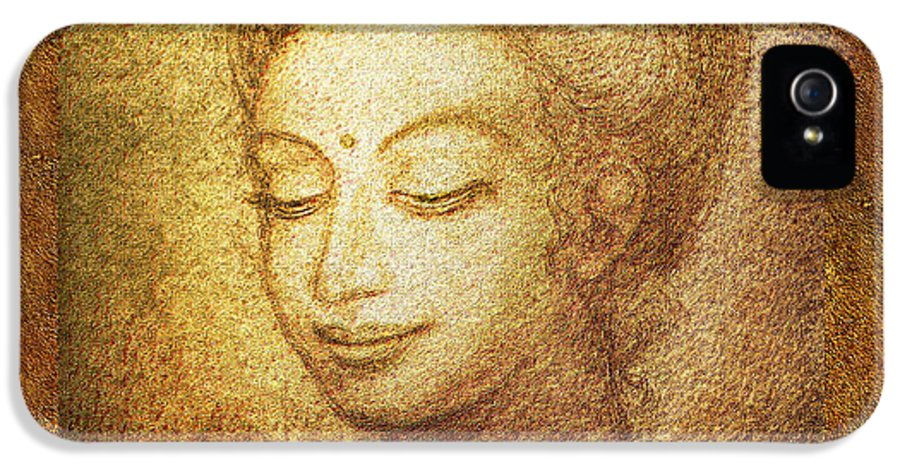 Buddha IPhone 5 / 5s Case featuring the mixed media Golden Buddha by Ananda Vdovic