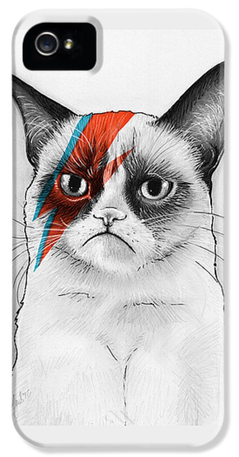 Grumpy Cat IPhone 5 / 5s Case featuring the drawing Grumpy Cat As David Bowie by Olga Shvartsur