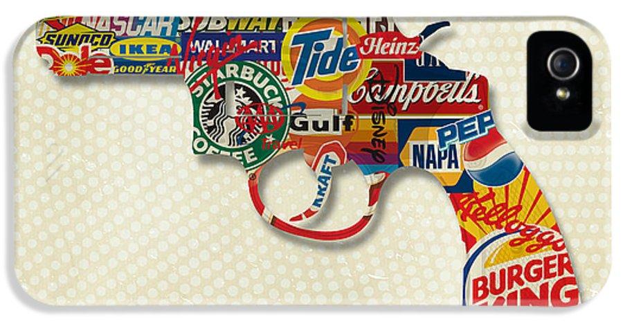 Gary Grayson IPhone 5 / 5s Case featuring the digital art Handgun Logos by Gary Grayson
