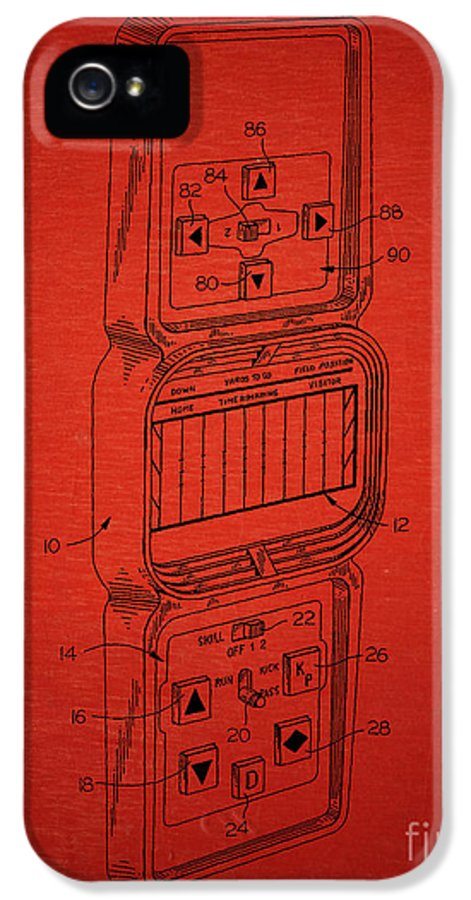 Mattel IPhone 5 / 5s Case featuring the drawing Head To Head Football Classic Electronic Toy by Edward Fielding