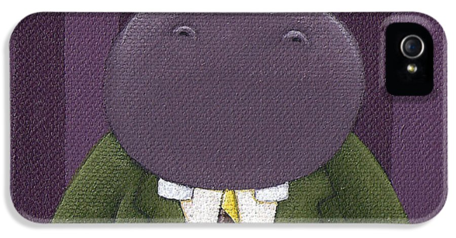 Hippo IPhone 5 / 5s Case featuring the painting Hippo Nursery Art by Christy Beckwith