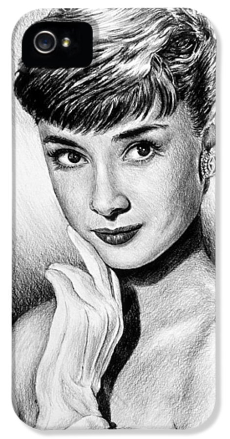 Audrey Hepburn IPhone 5 / 5s Case featuring the drawing Hollywood Greats Hepburn by Andrew Read